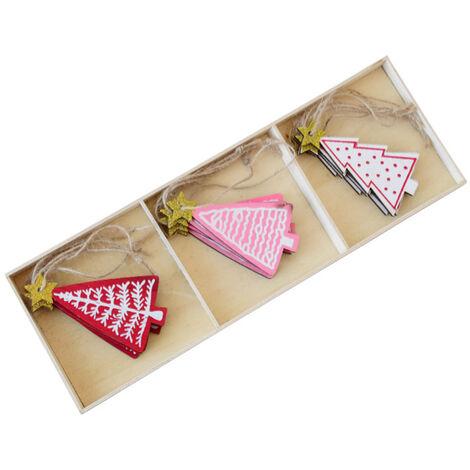 12 pcs Christmas wooden pendant Christmas decoration Christmas tree pendant For parties / Christmas / kids gifts