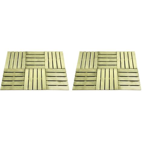 12 pcs Decking Tiles 50x50 cm Wood Green
