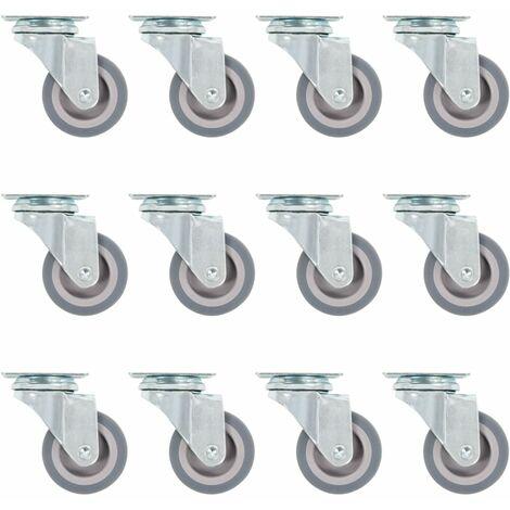 12 pcs Roulettes pivotantes 50 mm