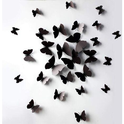 12 Pièce 3D Papillons Stickers Amovible Réutilisable Muraux Decal Étanche PVC Autocollant Maison DIY Mur Art Décoration Murale pour Appartement De La Chambre Points De Colle + Aimant (Noir)