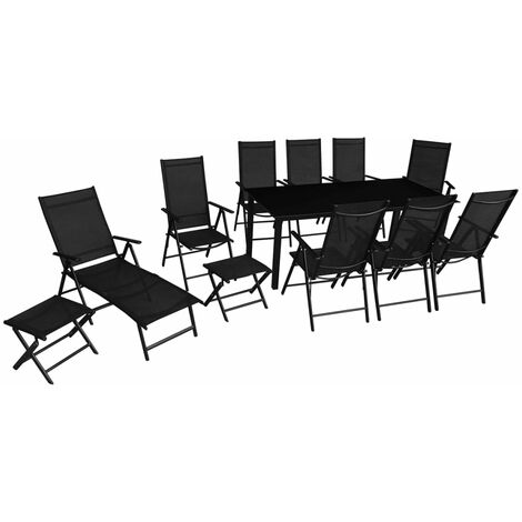 12 Piece Outdoor Dining Set Aluminium Black