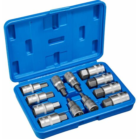 12-Piece socket set with internal Allen attachment - torx bit set, torx socket set, allen key socket set - blue