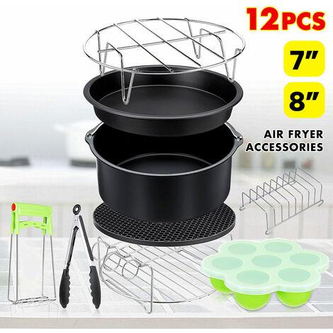 12 pièces 7 pouces 8 pouces ensemble d'accessoires de friteuse friteuse à air chaud four à air chaud avec pinces 8 pouces 8 pouces