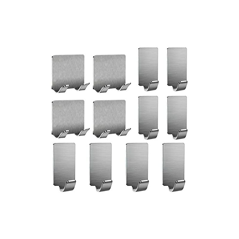 12 Pieces Adhesive Hook, Hook & Agrave; Stainless Steel Wall Mounted Coat For Bathroom / Keys / Hats / Bedrooms Towel bed / Doors - 4 razor hooks + 8