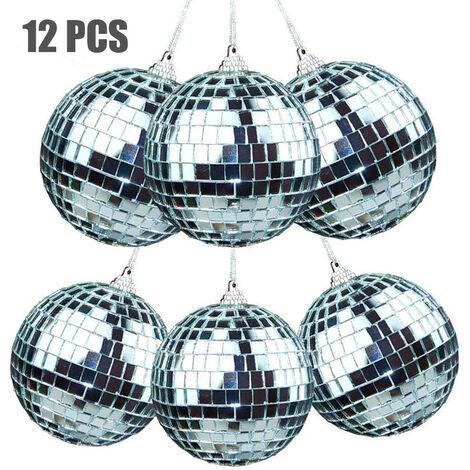 12 pièces boule disco décoration boule miroir ornement pour arbre de Noël de fête de Noël