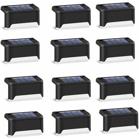 12 pièces de lumières d'escalier de jardin solaire clôture de jardin extérieur décoration de paysage lumières de marche solaires