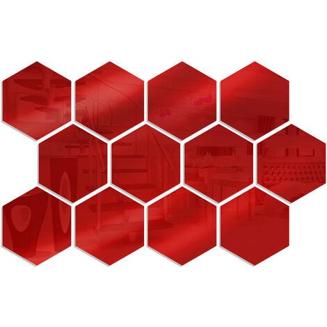 12 pieces de miroir acrylique hexagone stickers muraux bricolage decoration de la maison miroir stickers muraux, taille or 20 * 17 * 10 cm