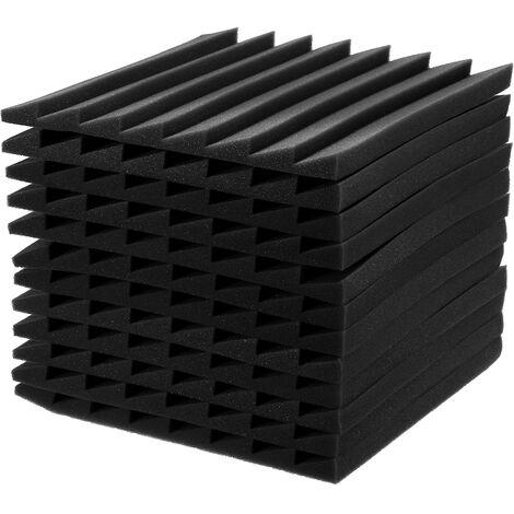 12 pièces Durable mousse insonorisée Studio mousses panneau mural acoustique isolation phonique mousse Studio carreaux muraux 30x30x2.5 cm noir
