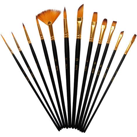 """main image of """"12 Pièces Pinceaux Peinture Acrylique, Pinceaux de Peinture Sets en Nylon pour Brosses à l'huile, Gouache, Aquarelle, Acrylique(Noir)"""""""