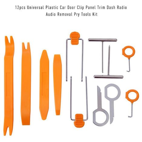 12 piezas de plastico Universal Clip de puerta de coche Panel de ajuste Dash Radio Eliminacion de audio Kit de herramientas de palanca abierta