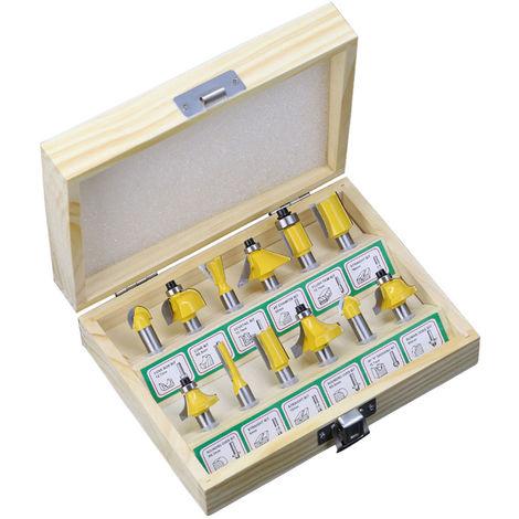 12 piezas, fresadora de corte y fresas, 8 mm de vastago,Con caja de madera
