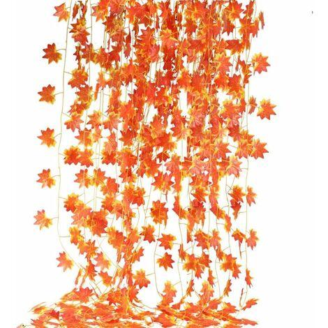 12 piezas Guirnalda de otoño Hojas de arce Decoración artificial Guirnaldas de arce Hojas de arce rojo Planta colgante de hiedra para boda Decoración de Halloween de Acción de Gracias
