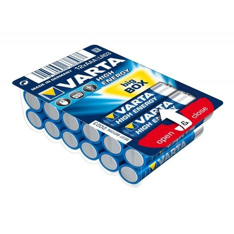 12 piles LR03 / LR3 AAA VARTA HIGH ENERGY alcalines