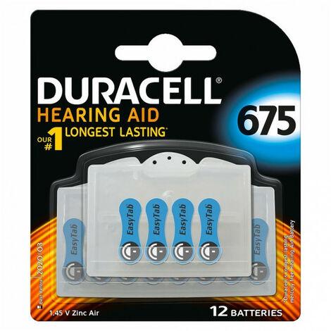 12 Piles pour appareils auditifs Duracell 675
