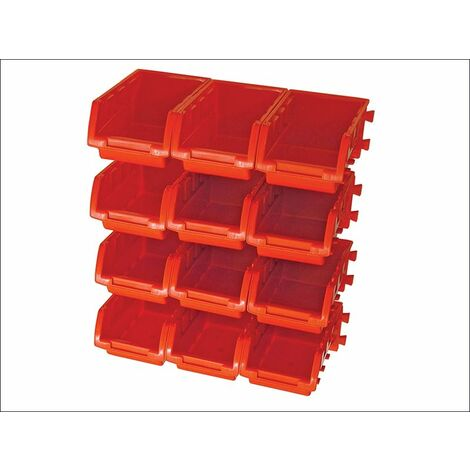 12 Plastic Storage Bins with Wall Mounting Rails (FAIPAN12)