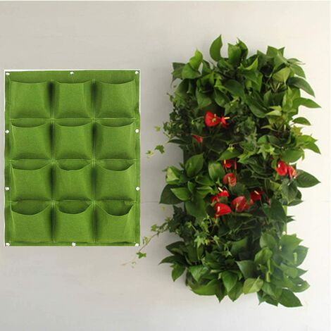 """main image of """"12 Pockets Green Waterproof Hanging Vertical Garden Wall Planter Plant Grow Bag for Yard Garden Home Balcony Office Decoration"""""""