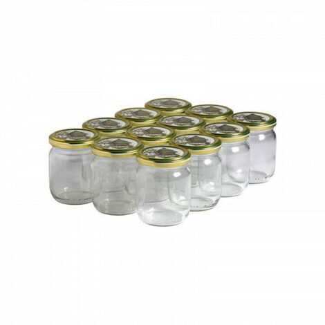 12 pots verre 250g (212 ml) avec couvercle TO 63 - Plusieurs modèles disponibles