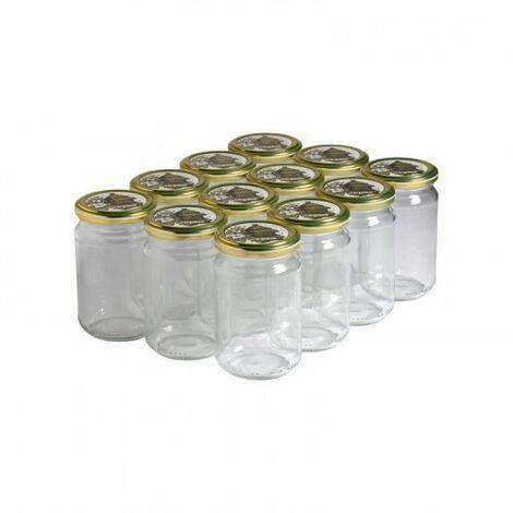 12 pots verre 400g (318 ml) avec couvercle TO 63 - Plusieurs modèles disponibles