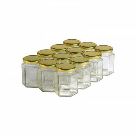 12 pots verre hexagonaux 250g (196 ml) avec couvercle TO 58 - Plusieurs modèles disponibles