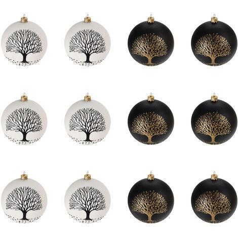 Christbaumkugeln Schwarz Gold.12 Stuck Weihnachtskugeln O6cm 2 Sorten Schwarz Und Weiss Glaskugeln Weihnachtsbaumkugeln Christbaumkugeln Christbaumschmuck Baumschmuck Dekokugeln