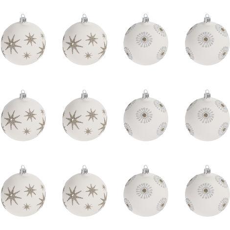 Außergewöhnliche Weihnachtskugeln.12 Stück Weihnachtskugeln ø6cm 2 Sorten Weiß Glaskugeln Weihnachtsbaumkugeln Christbaumkugeln Christbaumschmuck Baumschmuck Dekokugeln