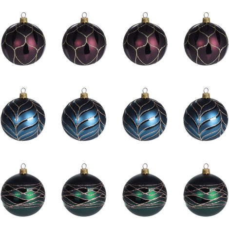 Christbaumkugeln Blau.12 Stück Weihnachtskugeln ø6cm 3 Sorten Grün Blau Und Rot Glaskugeln Weihnachtsbaumkugeln Christbaumkugeln Christbaumschmuck Baumschmuck