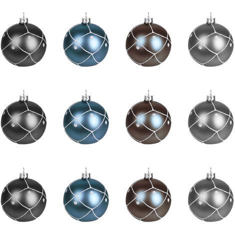 Christbaumkugeln Grau.12 Stuck Weihnachtskugeln O6cm 4 Sorten Schwarz Blau