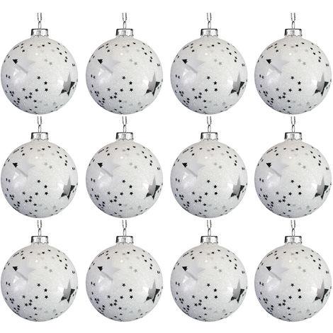 Weihnachtskugeln Weiß.12 Stück Weihnachtskugeln Sterne ø8cm Weiß Und Silber Glaskugeln Weihnachtsbaumkugeln Christbaumkugeln Christbaumschmuck Baumschmuck Dekokugeln