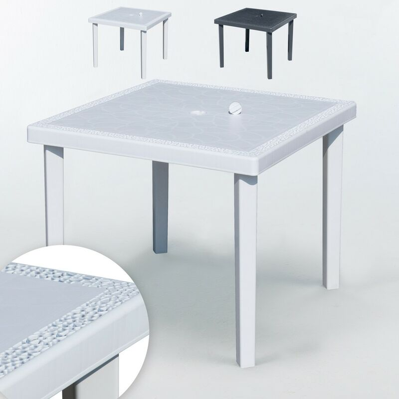 12 Tables carrées en Poly-rotin 90x90 Gruvyer | Blanc - Grand Soleil