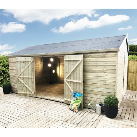 12 x 10 WINDOWLESS Reverse Premier Pressure Treated Tongue And Groove Apex Shed With Higher Eaves And Ridge Height And Double Doors (12mm Tongue & Groove Walls, Floor & Roof)