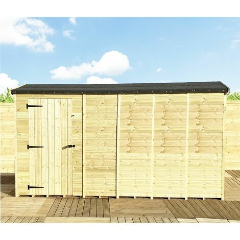 """main image of """"12 x 4 **Flash Reduction** REVERSE Windowless Super Saver Pressure Treated Tongue And Groove Single Door Apex Shed (High Eaves 74"""")"""""""