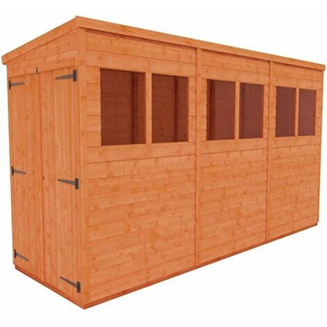 12 x 4 Tongue and Groove Pent Shed with Double Doors (12mm Tongue and Groove Floor and Roof)