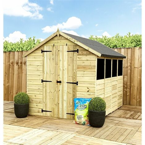 12 x 6 **Flash Reduction** Super Saver Pressure Treated Tongue & Groove Apex Shed + Double Doors + Low Eaves + 4 Windows