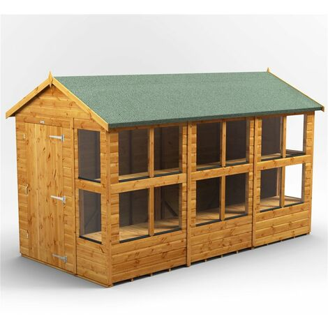 12 x 6 Premium Tongue and Groove Apex Potting Shed - Single Door - 16 Windows - 12mm Tongue and Groove Floor and Roof