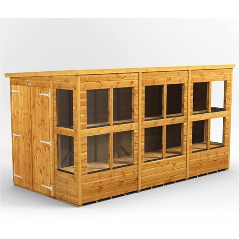 12 x 6 Premium Tongue and Groove Pent Potting Shed - Double Doors - 16 Windows - 12mm Tongue and Groove Floor and Roof