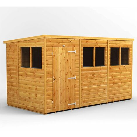 12 x 6 Premium Tongue and Groove Pent Shed - Single Door - 6 Windows - 12mm Tongue and Groove Floor and Roof