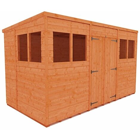 12 x 6 Tongue and Groove Pent Shed with Double Doors (12mm Tongue and Groove Floor and Roof)