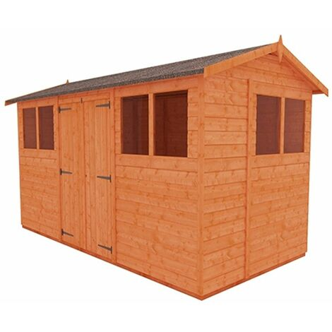12 x 6 Tongue and Groove Shed with Double Doors (12mm Tongue and Groove Floor and Apex Roof)