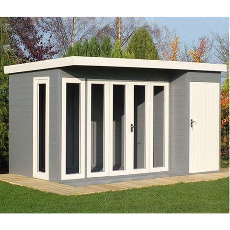 12 x 8 (3.59m x 2.39) - Premier Pent Wooden Summerhouse - 4 Windows - Double Doors - 12mm T&G Walls - Floor - Roof