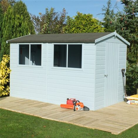 12 x 8 (3.59m x 2.39m) - Tongue And Groove - Wooden Apex Workshop - 12mm Tongue And Groove Floor and Roof (CORE)
