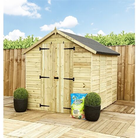 """main image of """"12 x 8 **Flash Reduction** Windowless Super Saver Pressure Treated Tongue & Groove Apex Shed + Double Doors + Low Eaves"""""""