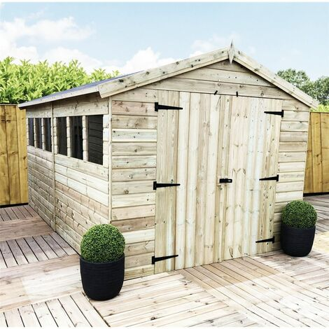 12 x 8 Premier Pressure Treated Tongue And Groove Apex Shed With Higher Eaves And Ridge Height 6 Windows + Double Doors + Safety Toughened Glass