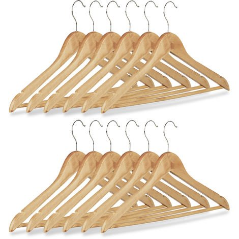 12 x Kleiderbügel, Hosenbügel Set aus Holz, Garderobenbügel, Haken 360° drehbar, HxB: 22,5x44,5cm, natur/silber