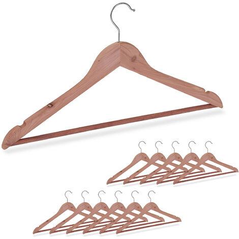 12 x Kleiderbügel Zedernholz, Mottenschutz im Kleiderschrank, edles Design, eingekerbt, B: 44 cm, Bügel Set, natur