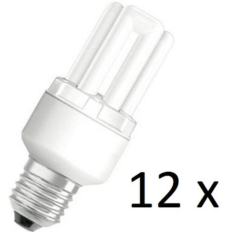 12 x Osram Dulux Star Superstar 8W/825 220-240V E27 Stick Lamp Light Bulb