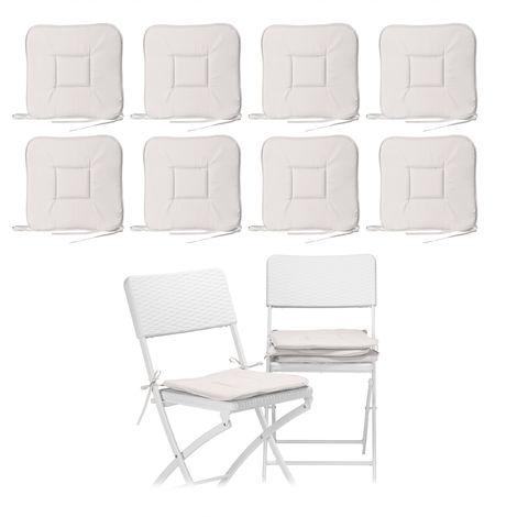 12 x Stuhlkissen, Sitzkissen mit Schleife, Auflage für Stühle, Haus und Garten, waschbar, Stuhlauflage Polyester, taupe