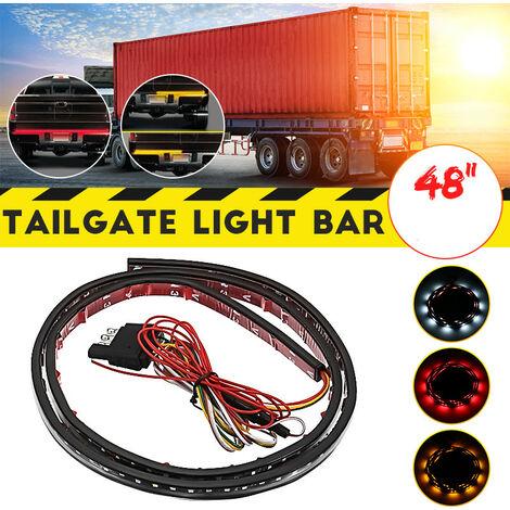 120/150 LED voiture bande lumineuse barre de hayon de voiture clignotant arrière feu de freinage DRL feux de jour DC12V (rouge, 48 pouces à une rangée)