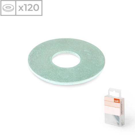 120 Arandelas anchas fabricadas en acero zincado y métrica 10