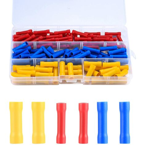 120 Electrical Connector, Insulating Sleeve Electrical Lug, Crimp Lugs, Straight Wire Crimp Terminals, Automotive Crimp Connectors(Blue, Red, Yellow)