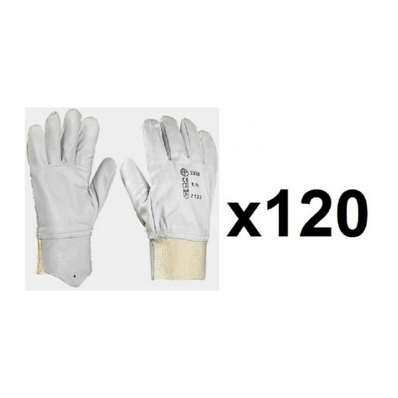 120 paires de gants cuir tout fleur poignet tricot MO2250 (9) - Taille : 9 - Europrotection
